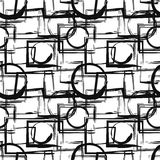 Seamless pattern with abstract black geometric figures in grunge style. Vector design elements.  Royalty Free Stock Image