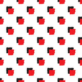 Seamless pattern of abstract black and red cubes. On a white background in a checkerboard pattern of red and black abstract squares royalty free illustration