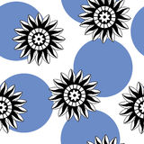 Seamless pattern of abstract black and white flowers on a white Royalty Free Stock Photos