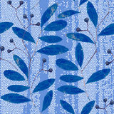 Seamless  pattern with  abstract blue branches of the herbarium Royalty Free Stock Photo