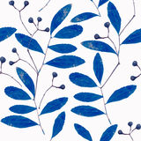 Seamless  pattern with  abstract blue branches of the herbarium Royalty Free Stock Images