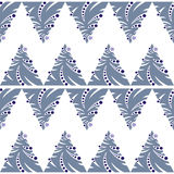 Seamless pattern of abstract blue Christmas tree on white backgr Stock Image