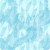 Seamless pattern with abstract blue feathers on ablots ink  blue Stock Image