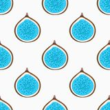 Seamless pattern with abstract blue halves figs. Healthy dessert. Fruity repeating background. Hand drawn fruits. Wrapping, print on clothes, wallpaper, summer Royalty Free Stock Photo