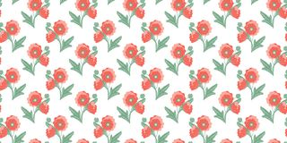 Seamless pattern of abstract bouquets of poppies with open and closed buds on a white background. Vector stock illustration
