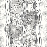 Seamless pattern with abstract branches and flowers. Black and w Royalty Free Stock Images