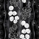 Seamless pattern with abstract branches and flowers. Black and w Royalty Free Stock Photo