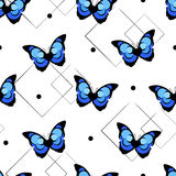 Seamless pattern with abstract butterfly and geometric shapes on white background. Vector Stock Images