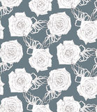 Seamless  pattern with abstract cartoon roses Stock Photos