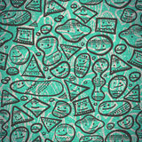 Seamless pattern of abstract cheerful smiles of different shapes Royalty Free Stock Images