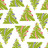 Seamless pattern of abstract Christmas tree on a white backgroun Stock Photography