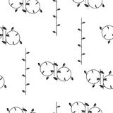 Seamless pattern with abstract circles with leaves vector. Black and white pattern stock illustration