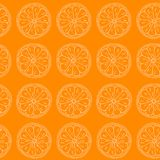 Seamless pattern. Citruses on orange background. Royalty Free Stock Images
