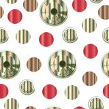 Seamless pattern with abstract colorful circles - green and red colors. White background Stock Photo