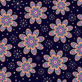 Seamless pattern with abstract colorful flowers Royalty Free Stock Photo