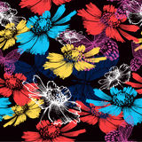 Seamless pattern with abstract colorful flowers an vector illustration