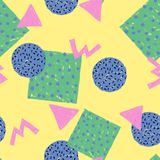 Seamless pattern abstract colorful geometric shape on yellow. Background, textile illustration Royalty Free Stock Image
