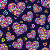Seamless pattern with abstract colorful hearts Stock Photo