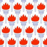 Contour torch pattern. Seamless pattern of the abstract contour torch icons Stock Photos