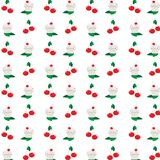 Cupcakes and cherries pattern, vector illustration. Seamless pattern with abstract cupcake and cherries on white,  vector illustration Royalty Free Stock Images