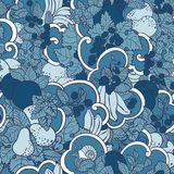 Seamless pattern with abstract curls, fruits and berries in blue. Colors. There is a snail and mint also in vector graphic illustration Royalty Free Stock Images