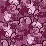 Seamless pattern with abstract curls, fruits and berries in pink. And magenta colors. There is a snail and mint also in vector graphic illustration vector illustration