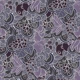 Seamless pattern with abstract curls, fruits and berries in purp. Le and magents colors. Graphic vector design illustration Stock Image