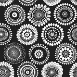 Seamless pattern with abstract doodle flowers. Black and white  illustration. Royalty Free Stock Image