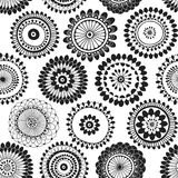 Seamless pattern with abstract doodle flowers. Black and white  illustration. Stock Photos
