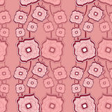 Seamless pattern with Abstract doodle square flowers pink Stock Images