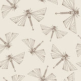 Seamless Pattern With Abstract Dragonflies Stock Photos