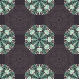 Seamless pattern with abstract elements, damask tiles Stock Photo