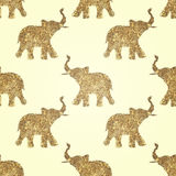Seamless pattern with abstract elephants of glitter. Their trunks raised up - good luck symbol Royalty Free Stock Images