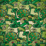 Seamless pattern of abstract fantastic plants with eyes.  Stock Photography
