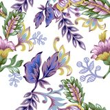 Seamless pattern with abstract fantasy flowers and leaves Paisley or Damask jacobean style Watercolor Gouache stock illustration