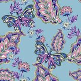 Seamless pattern with abstract fantasy flowers and leaves Paisley or Damask jacobean style Watercolor Gouache vector illustration