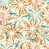 Seamless pattern with abstract fireworks and. Salute Stock Photo