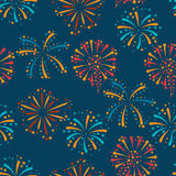 Seamless pattern with abstract fireworks and. Salute Stock Images