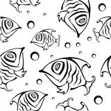 Seamless pattern with abstract fish Royalty Free Stock Photography