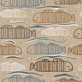 Seamless pattern with abstract fish. Fish white, brown and blue on gray background. Seamless pattern with abstract fish. Fish white, brown and blue on gray Royalty Free Stock Images