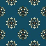 Seamless pattern with abstract floral elements in retro style. Textile fabric, printing and many other areas of designs. stock illustration