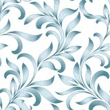 Seamless pattern of abstract floral ornament with curled leaves. Blue tracery isolated on white background. Engraving style Royalty Free Stock Images