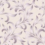 Seamless pattern of abstract floral ornament with curled leaves. Engraving style. Royalty Free Stock Image