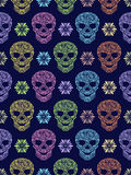 Seamless pattern with abstract floral skulls Royalty Free Stock Images
