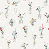 Seamless pattern with abstract flower in bottles. Seamless pattern with abstract flower bouquets in bottles. Vintage colors. Vector illustration Stock Photo