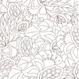 Seamless pattern with abstract flower elements. Coloring Royalty Free Stock Photography