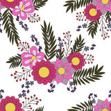 Seamless pattern with abstract flower elements. Vector Royalty Free Stock Photography