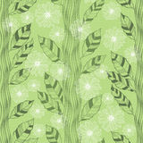 Seamless pattern with abstract flowering trees. Hand-drawn flora Stock Images