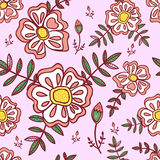 Seamless pattern with abstract flowers Royalty Free Stock Images