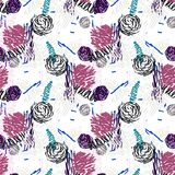 Seamless pattern with abstract flowers. Stock Images